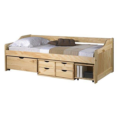 IDIMEX Funktionsbett SOFIA 90x200 cm Funktionsliege Jugendbett mit Schubladen Kiefer massiv natur inkl. Lattenrost