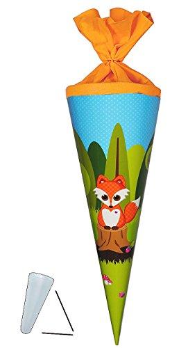 Preisvergleich Produktbild Schultüte - Fuchs mit Pilz - 70 cm - rund - Filzabschluß - Zuckertüte - mit / ohne Kunststoff Spitze - Glückspilz - Füchse / Waldtiere Eichhörnchen Punkte - für Mädchen & Jungen - Glücksbringer - Tiere des Waldes