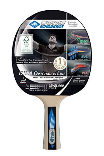 Donic-Schildkröt Tischtennisschläger Ovtcharov 900 FSC, AVS, PLS & Ergo-Griff, 2,1 mm Schwamm, FSC Holz, Spinmax - ITTF Belag, 754415