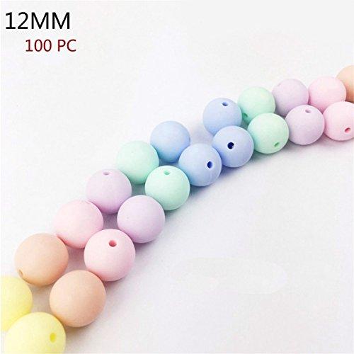 Best for baby 100pcs (12mm) Süßigkeiten Silikonperlen DIY Baby teether Halskette Armband Nippelclip Zubehör Baby spielzeug Geschenk
