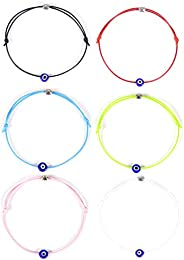 HUNO 6Pcs/Set Evil Eye Ankle Bracelet Lucky Amulet Blue Eye Waterproof String Anklets for Women Girls Kabbalah