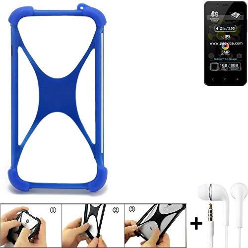 K-S-Trade Bumper für Allview P4 Pro Schutzhülle Handyhülle Silikon Schutz Hülle Cover Case Silikoncase Silikonbumper TPU Softcase Smartphone, Blau (1x), Headphones