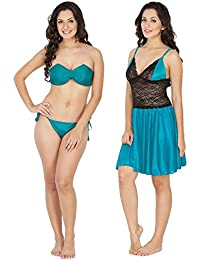 Klamotten Satin Women Nightwear and Bikini Set 221T-07T