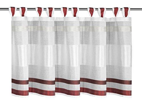 Albani Schlaufenpanneaux, Weiß-Rot, 45 x 140 cm (H x B), fertig konfektioniert, 1 Stück, Mette, 268190