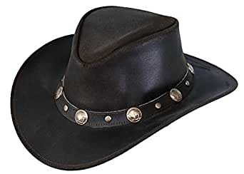 Outback Trading Co Rawhide Mens Hat Chocolate Top-Grain Leather UPF50