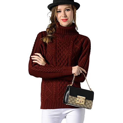 FWJ-clothes Winter Strickpullover Frauen Cropped Sweater Rollkragen Mantel Hoher Kragen Langarm Oberbekleidung Pullover,Rot,S - Chunky Knit Rollkragen
