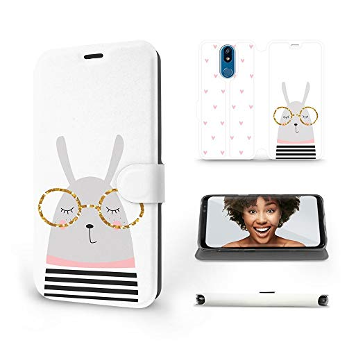 MOBIWEAR   Slim FLIP Case   Kompatibel mit LG K40, Made in EU handyhülle, Premium Schutzhülle, Transparent TPU Silicon, Book Style Hülle, Tasche - Kaninchen mit Brille