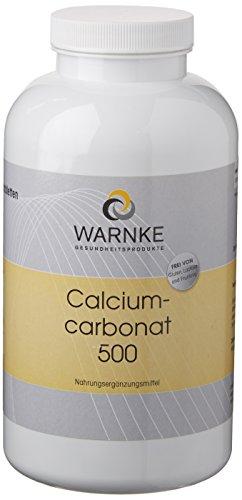 Warnke Gesundheitsprodukte Calciumcarbonat, enthält 188 mg Calcium, Großpackung, vegi, Kalziumkarbonat, 500 Kautabletten (Kautabletten Kalzium)