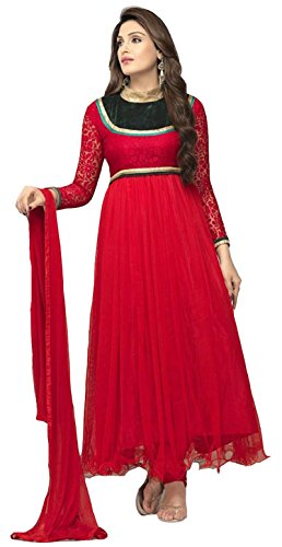 Clickedia Women's & Girl's Heavy Net & Brasso Red Anarkali Suit With Dupatta  available at amazon for Rs.499