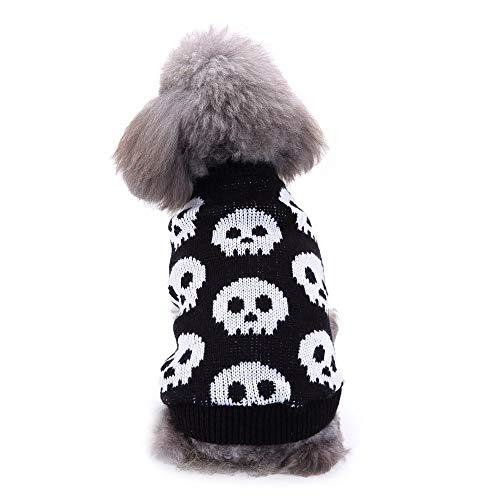 Smniao Hundepullover Herbst Winter Warm Hundekleidung für Kleine Hunde Chihuahua Halloween Bulldogge Skull Muster Sweatshirt Haustier Kostüm (M, Schwarz) -