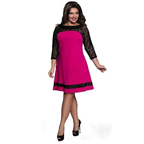 Sommerkleider Damen Großes Dresses Casual Lose Rundkragen Elastisch Farbe Übergröße Kleider Rose Rot Tag(6XL)=EU (Dresses Wedding Plus Size)