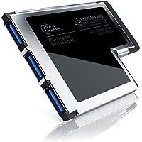 CSL USB 3.0 ExpressCard (54 mm/3 Puertos) | Tarjeta de Interfaz/Adaptador / Convertidor | 3X Puertos USB de Tipo A | USB 3.0 Super Speed | hasta 5 GBit/s | Ancho de instalación de 54 mm