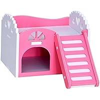 UEETEK Casas de madera para hámsters animales pequeños Casas para roedores (Rosa)