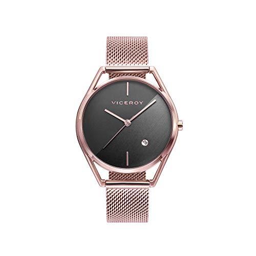 Viceroy Air - Reloj para Mujer Acero Chapado Oro Rosa Esfera Gris 42392-17