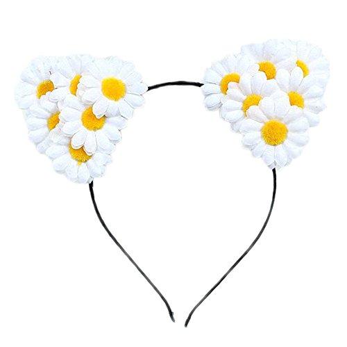 Kostüm Katzenohren Weiße - 1X Toruiwa Haarreif mit Blume Form Ohren Party Kostüm Kopf Haarband Haarschmuck (Weiß)