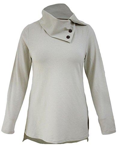 La vogue Damen T-Shirt Bluse Casual Langarm Pullover Longshirt Grau