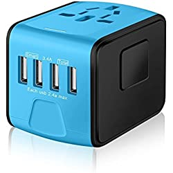 Travel charger Universal All-in-One Travel charger International Travel Power Adapter traveling 4-port USB Charger Worldwide AC Wall Outlet Plugs for UK, US, AU, Europe Asia-(Blue) by Prosmart