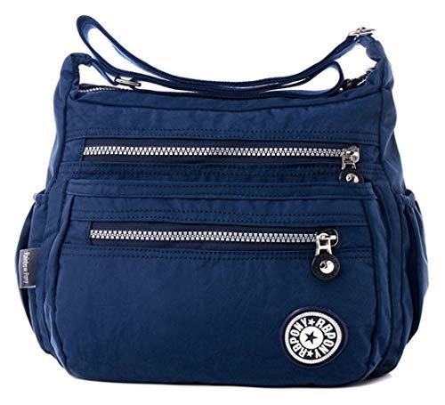 FiveloveTwo Damen Mode Nylon Schultertasche Shopper Hobo Tragetaschen Rucksack Umhängetasche Geldbörsen Tote Taschen für Alltag Büro Schule Ausflug Einkauf Dunkelblau