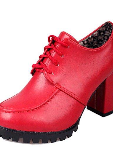 ZQ hug Scarpe Donna-Scarpe col tacco-Casual-Tacchi-Quadrato-Finta pelle-Nero / Rosso , red-us8 / eu39 / uk6 / cn39 , red-us8 / eu39 / uk6 / cn39 red-us6.5-7 / eu37 / uk4.5-5 / cn37