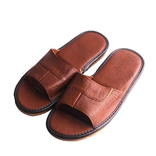 cc913097d766 Hombres Zapatillas De Cuero Casa Piso Interior CláSico Calzado Casual  Toboganes Sandals