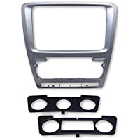 feeldo gris Radio de coche marco embellecedor marco de Refitting Panel adaptador para radio de coche 2DIN estéreo instalar kit de montaje para Skoda Octavia (10~ 13) Auto/Manual a/c