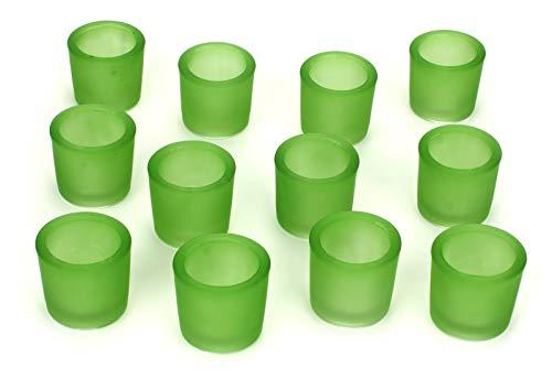 NoNa 12er Set 6 cm Teelichtglas Glas Farbe Grün Kerzenglas Windlicht Kerzengläser