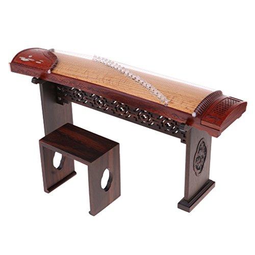 MagiDeal 1/6 Puppenhaus Miniatur Hölzerne Chinesische Guzheng Zither mit Ständer & Box & Stuhl Set