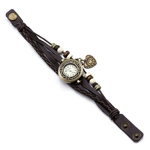 JSDDE Uhren Vintage Wickelarmband Damen Armbanduhr Lederarmband Bronze Herz Anhänger Holzperlen Analog Quarz Uhr, Dunkelbraun - 5