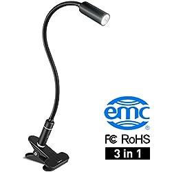 Aglaia Lámpara Escritorio con Clip, 4W LED Regulable Control Táctil con 3 Niveles de Brillo, Metal Aluminioy Cuello Flexible 360° para Estudio Lectura (Negro) [Clase de eficiencia energética A+]