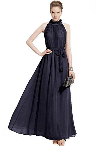 ERGEOB Damen Sommer Kleid Elegante Cocktail Party Floral Kleider Maxi ärmellosen Chiffon Abendkleid Strandkleid Marine (Geprüft Blauen Kleid)