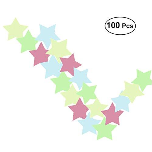 VORCOOL 100 stücke Leuchtende Sterne im Dunkeln Leuchten 3D Fluoreszierende Wandaufkleber Abziehbilder für Zuhause Decke Wand Schmücken Baby Kinder Geschenk Kinderzimmer (Decke-wand-abziehbilder)