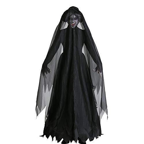 Kostüm Für Dark Zombie Erwachsene - Adult Dark Horror Zombie Ghost Braut Set, Vampirhexe Evil Devil Kostüm,L