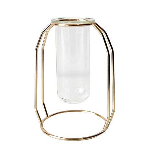 belupai Glasblumenvasen, Herzstück Vasen mit Metallständer Zylinder Klare Vasen für Blumen Dekoration Für Zuhause Geburtstag Hochzeit (Luxus Gold - Klein) (Zylinder Vase Herzstück)