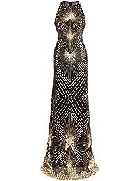 d09894957 Angel-fashions Mujer Geometria Columna Vestidos de Noche Arte Deco