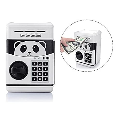 Itian Cartoon Piggy Bank Cash Coin Can avec mot de passe, Money Bank Money Safe, Saving Box, ATM Bank Safe Locks Panda Smart Voice, Noir + Blanc