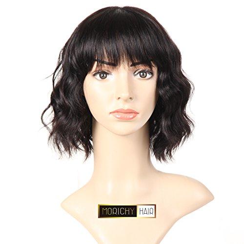 Morichy capelli corti parrucche per le donne nero capelli umani parrucche nessuno pizzo frontale con frangia parrucca unprocessed brazilian body wave parrucca colore naturale