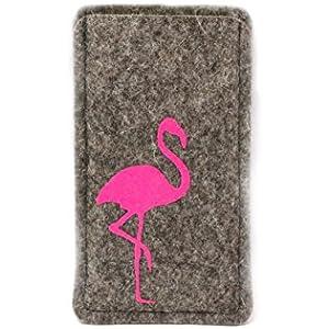 Handyhülle aus Filz mit pinkem Flamingo, passend für iPhone SE, 5, 5s und 5c