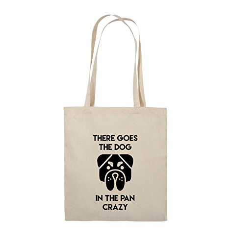 Comedy Bags - THERE GOES THE DOG IN THE PAN CRAZY - Jutebeutel - lange Henkel - 38x42cm - Farbe: Schwarz / Pink Natural / Schwarz