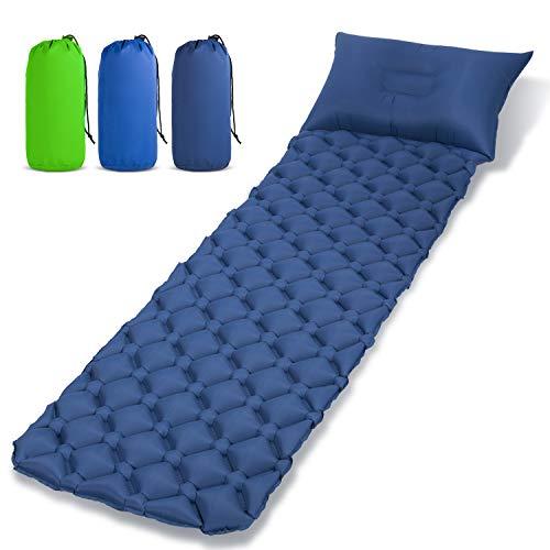 Aufblasbare Isomatte mit Kopfkissen, HanLuckyStars Ultraleicht Kompakte Luftmatratze - Kleines Packmaß Isomatte Camping Matratze Schlafmatte für Outdoor Reisen Wandern Strand Zelt Schlafsack
