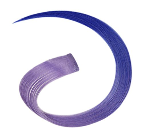 2 morceaux de Mode cheveux invisibles pièce extension perruque, violet et bleu