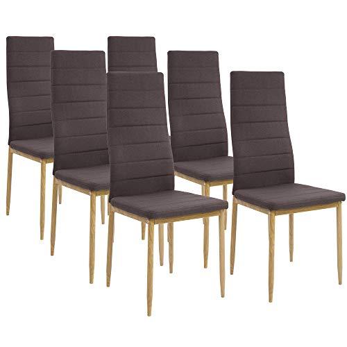 Albatros Esszimmerstühle SAN REMO 6-er Set Espresso/Braun, Stoffbezug, Bequem & Ergonomisch geformte Lehne, Küchenstühle - Espresso-esszimmer
