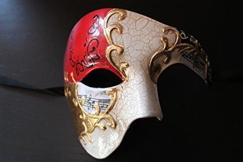 Qualität Hälfte Gesicht Phantom Rot und Gold Musiknoten Theatralisch Venezianische Karneval Maskerade Partei (Gold Und Maske Rot)