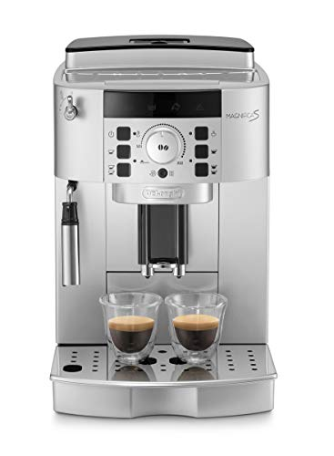 De'Longhi ECAM 22.110.SB - Kaffeevollautomat mit Milchaufschäumdüse, Digitaldisplay mit Klartext, 2-Tassen-Funktion, großr 1,8 l Wassertank, 35,4 x 23,8 x 43 cm, silber/schwarz