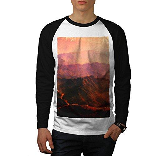 Vulkan Lava Foto Natur Lava Fluss Men S Baseball LS T-shirt | Wellcoda (Fluss-baseball-jersey)