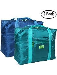 Bolsa de viaje plegable Duffel para gimnasio Deportes vacaciones Camping Bolsa de equipaje grande ligero, impermeable, paquete de 2