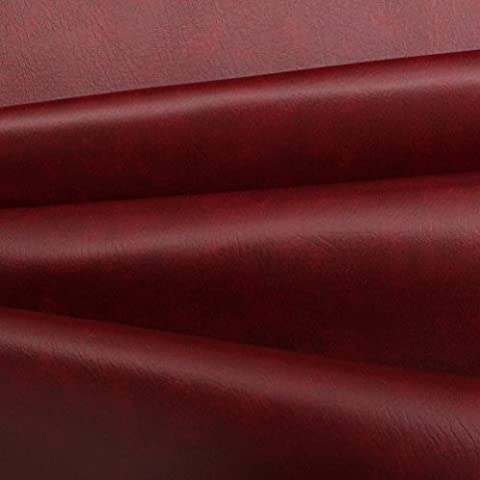 FAUX LEATHER LEATHERETTE MATERIAL HEAVY FEEL PVC VINYL UPHOLSTERY FABRIC 1M[Burgundy]