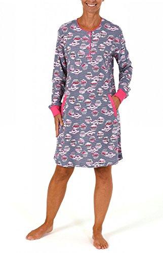 Cooles Damen Kurznachthemd mit Cupcake-Print und Bündchen - 261 213 90 103 Grau-Melange