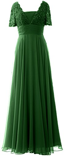 MACloth Women Short Sleeves Mother of the Bride Dress Lace Formal Evening Gown Dark Green