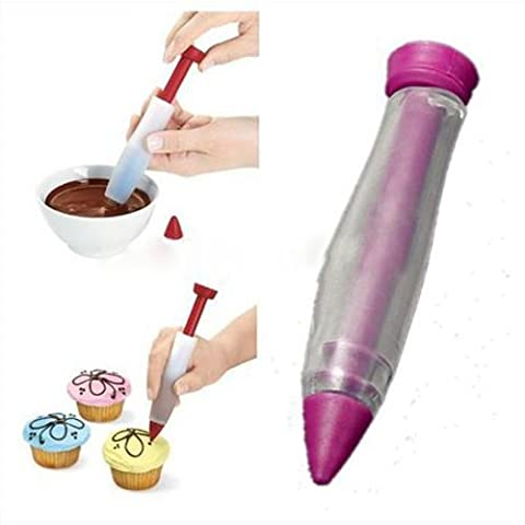 Silicone Cake Pastry Cookie Icing Decorating Syringe Cream Chocolate Plate Pen Bakeware Tools- by FullDream