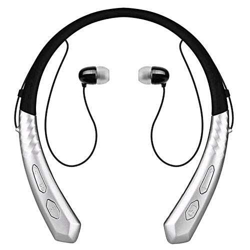 Bluetooth-Headset V4.0 Wasserdichte Und SchweißSichere OhrstöPsel Drahtlose, Intelligente KopfhöRer Subwoofer HiFi-Stereo-Halter-KopfhöRer KopfhöRer Mit GeräUschunterdrüCkung Geeignet FüR Sport,Silver